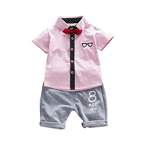 LENGIMA Kinder Jungen Sommer Kurzarm Bowtie Button Down Baumwollhemd + Shorts (Color : Pink, Size : 110) Polka Dot Bowties