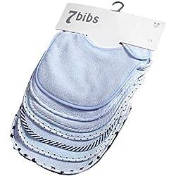 Ensemble de bavoirs doux double couches coton absorbant pour bébé (7 pièces)