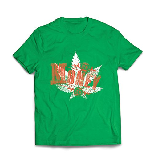 lepni.me Maglietta da Uomo Niente Soldi Niente Divertimento - Foglia di Cannabis - Erba fumante - Citazioni congiunte - Lo Slogan della Marijuana (XX-Large Verde