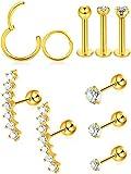 10 Pièces Boucles d'Oreilles Cartilage Tragus Set Goujons Labret Boucle d'Oreille...
