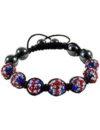 Bracelet type Shamballa Hématite Macrame croix rouge et bleu angleterre anglais