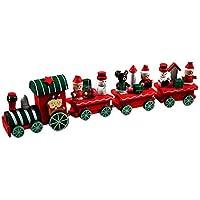 ROSENICE Tren para Arbol de Navidad de Madera con Muñeco de Nieve Papá Noel