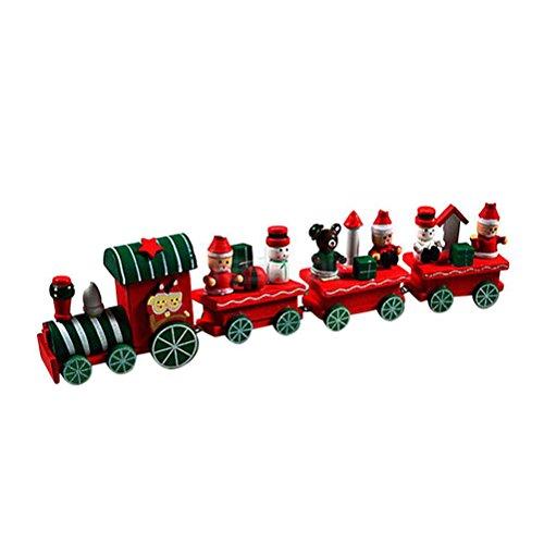 (ULTNICE Weihnachten Zug Dekoration Holz Weihnachtsschmuck Santa Xmas Zug Dekor Geschenk für Kinder 4 STÜCKE)
