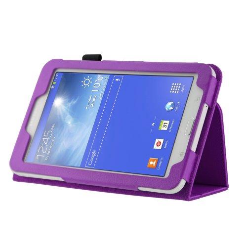 maxbuy - New Quality Samsung Galaxy Tab 3 Lite 7.0'' Customized Pelle PU Folio Stand Custodia Protettiva Cover Skin per Samsung Galaxy Tab 3 Lite SM-T110 WI-FI e SM-T111 3G 7-pollici Tablet Only (purple)