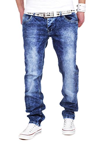 MT Styles Jeans Straight Fit pantalon homme RJ-231 Bleu