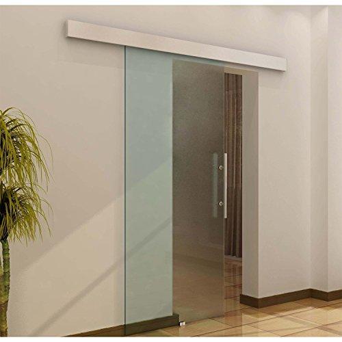 Outsunny homcom - porta scorrevole in vetro satinato temperato con binario