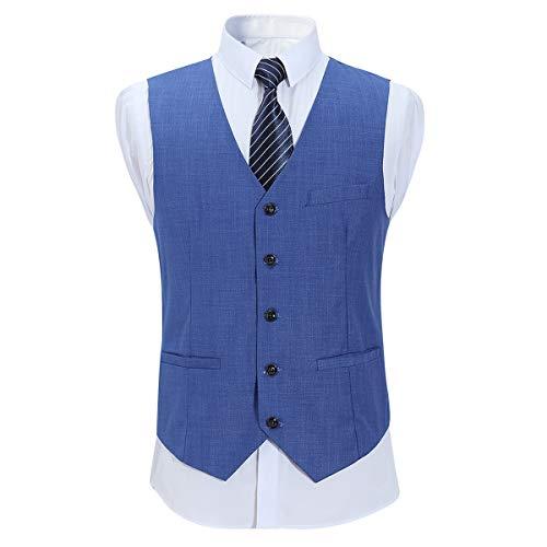 YOUTHUP Anzugweste Herren Slim fit V-Ausschnitt Weste Anzug Sakko Einreiher Leinen Gile Für Business Hochzeit - Leinen-einreiher Sakko
