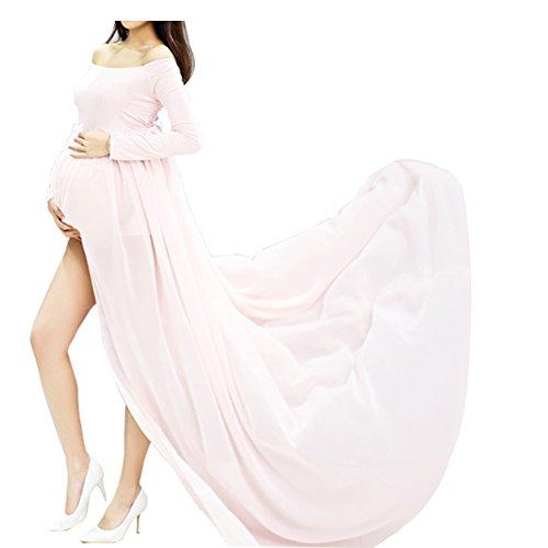 Schwangere Frauen Fotografie Stützen, Schwanger Kleid Maternity Gown Split Front Foto Shoot Kleid, Mutterschaft Fotografie Kleidung Schwangerschafts Maxikleid Schwangerschafts Kleid (Rosa) (Kleidung Mutterschaft Womens)