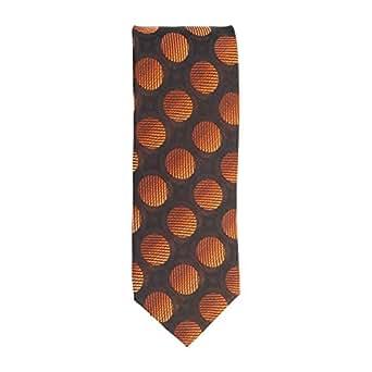 Silk classico cravatta seta marrone arancione modello di cerchio 8 cm