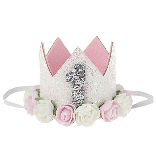HOCAIES neue Fashion Lovely Blume Krone Elastic Mädchen Headbands Baby Girl Pearl Krone Haarreifen Babyschmuck (ER-04)