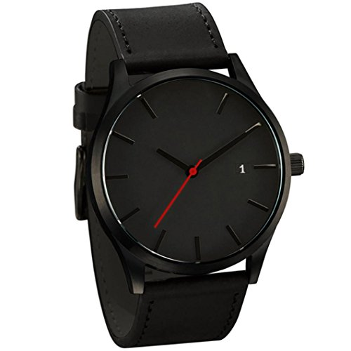 Ba Zha Hei-Reloj de Pulsera de Cuarzo de Cuero de connotación Minimalista Popular de bajo Perfil Popular Minimalist Connotation Leather Men's Wristwatch de Moda Hombre Relojes de Estilo único Reloj