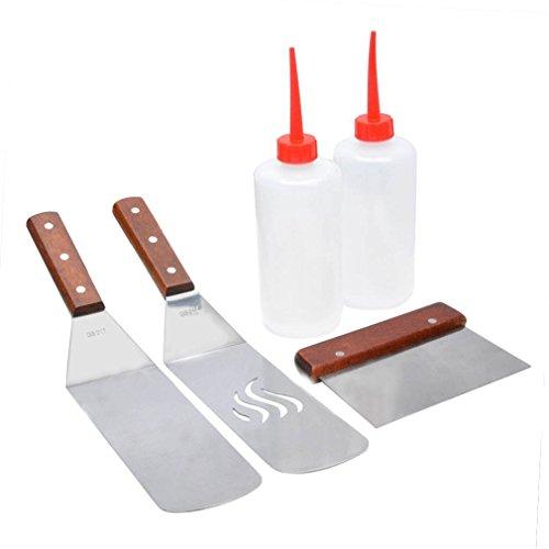 Preisvergleich Produktbild Onlyfire Grillspachtel Plancha Kit aus Edelstahl für Grillplatte,  enthält: 2x Pfannenwender,  1x Spachtel,  2x Spritzflasche