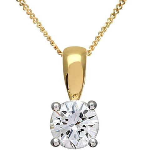 Naava Women's 0.75 ct IJ/I Certified Round Brilliant Diamond, 18 ct Yellow Gold Solitaire Pendant + Chain