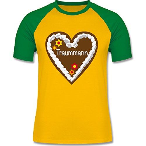 Oktoberfest Herren - Lebkuchenherz Traummann - zweifarbiges Baseballshirt für Männer Gelb/Grün