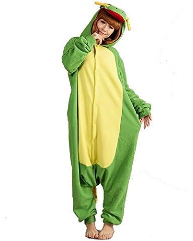 SAMGU Green Yellow Chinese Dragon Adult Kigurumi Cosplay Costume Animal Pajamas Onesie Sleepwear Series Size XL
