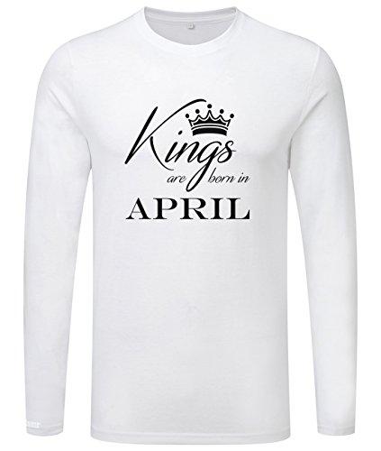 Kings are born in April - Geburtstag - Herren Langarmshirt Weiß