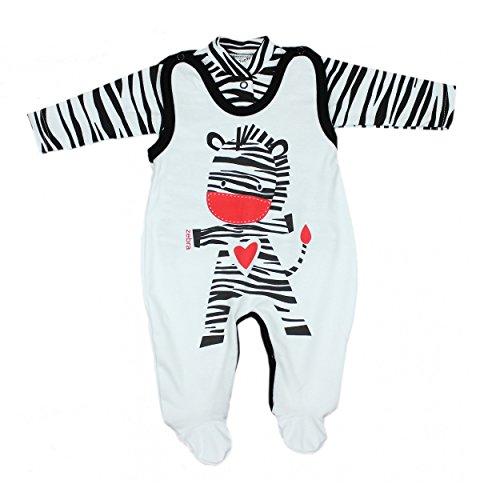 Schulter Zebra (Baby Strampler mit Spruch I love Mum and Dad oder mit Aufdruck 2-tlg. Stramplerset mit Oberteil, Farbe: Zebra, Größe: 56)
