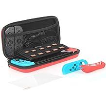 AmazonBasics - Kit di accessori per Nintendo Switch, con custodia e pellicola protettiva per lo schermo in vetro temperato - Rosso
