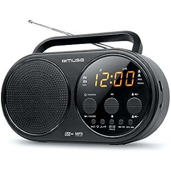 Muse M-088 R Radio portable avec USB (Double alarme, Snooze-Sleep, Berstein-écran avec variateur, MP3 AUX-antenne télescopique) noir