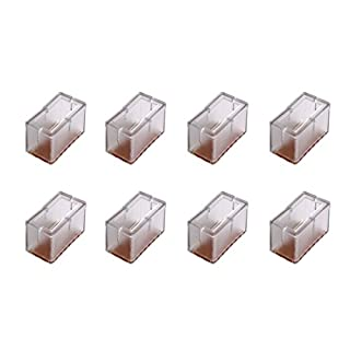 Andux 8Pcs/Set rectangle Bottom Silicone Wood Floor Protectors Chair Leg Caps Furniture Feet Pads Table Covers Anti-slip Prevent Scratches.(Clear)-GJZJD-01 (9#)