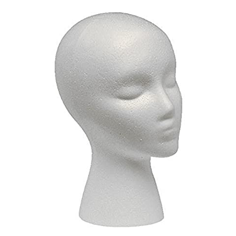 JaneDream Styrofoam Foam Mannequin Female Head Model Dummy Wig Glasses Hat Display Stand (Without Base) by (Glass Hat)