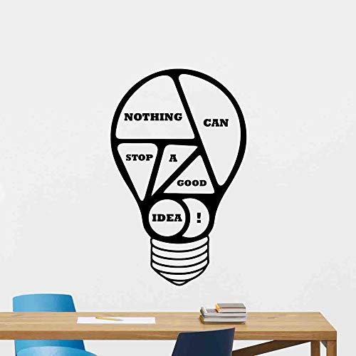 Büro Wandtattoo Glühbirne Poster Nichts kann eine gute Idee aufhalten Motivierend Zitat Geschenk Vinyl Aufkleber Business Decor Wandbild 57x91cm