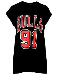 Be Jealous Ladies Baseball Football Varisty Bulls 91 Slogan Prints Baggy Oversized Womens Casual Top Tee Shirts UK Plus Sizes 8-26