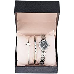 Souarts Womens Silver Color Rinestone Love Bracelet Quartz Analog Wrist Watch Christmas Gift Set