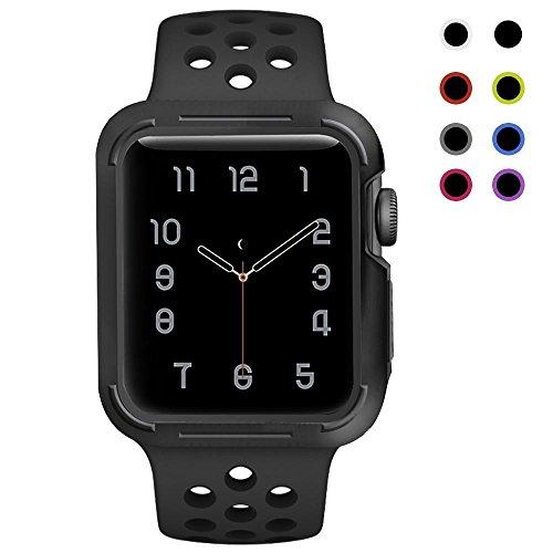 Preisvergleich Produktbild Für Apple Watch Armband mit Hülle 38mm / 42mm ,  Kobwa Weiche Silikon Sport Nike Edition IWatch Armbander Strap mit Schutzhülle Fall Für Apple Watch Series 1 2 3