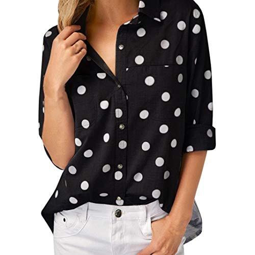 MEIbax Damen Arbeits Büro Punkt Druck Graue Knopf beiläufige Lange Hülsen Hemd Blusen Spitze...