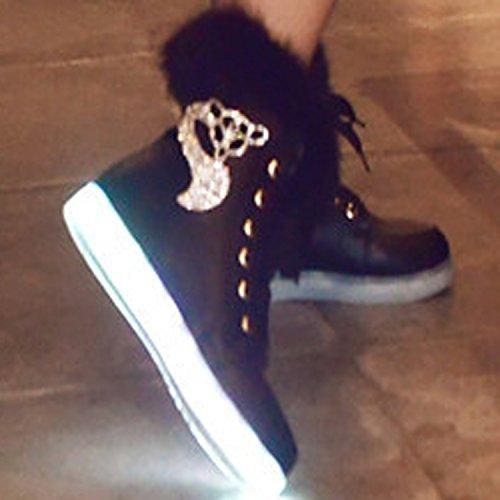 Oasap Damen LED Stiefel Mit Strass Besetzt White