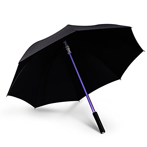 Vejaoo Paraguas Golf con Linterna y 7 Color LED Paraguas Sombrilla contra Ultravioletas y Viento (Black)