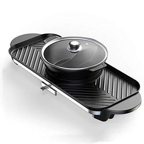 CIGONG Barbecue Heißen Topf, Abnehmbare Dual-Control-Schalter Herd, Doppel-Topf Reiskocher Elektroofen Elektrische Backform Barbecue-Grill