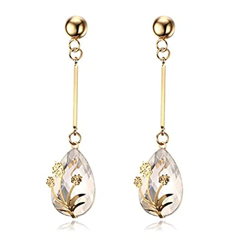 Vnox Women's Girl's Stainless Steel Long Dangle Flower Inlay White Crystal Trendy Drop Earrings Gold