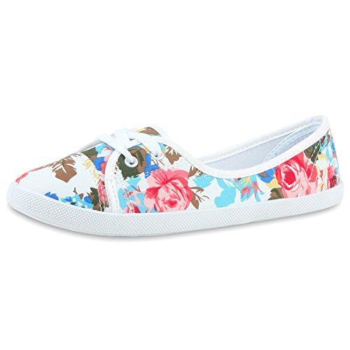 Sportliche Damen Ballerinas | Bequeme Basic Schuhe | Stoff Flats aus angenehmen Obermaterial | Gr. 36-41 Weiss Muster