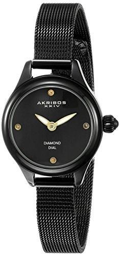 Akribos XXIV-Orologio da donna al quarzo con Display analogico e braccialetto in acciaio INOX con AK873BK, colore: nero