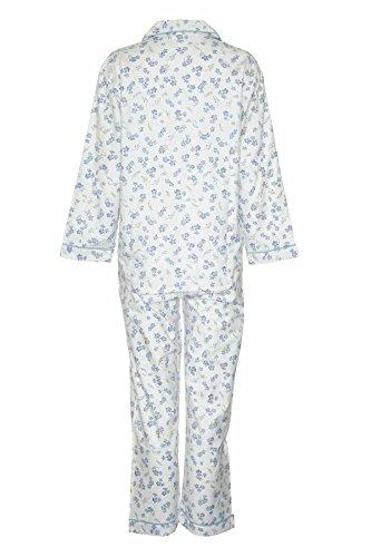 Damen Frauen Champion Blue Sea Wyncette Baumwolle Lange Pyjama Schlafanzug Nachtanzug Blau