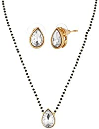 Meenaz Gold Plated One Gram Jewellery Kundan Mangalsutra Pendant Necklace With Chain For Girls And Women MS-880