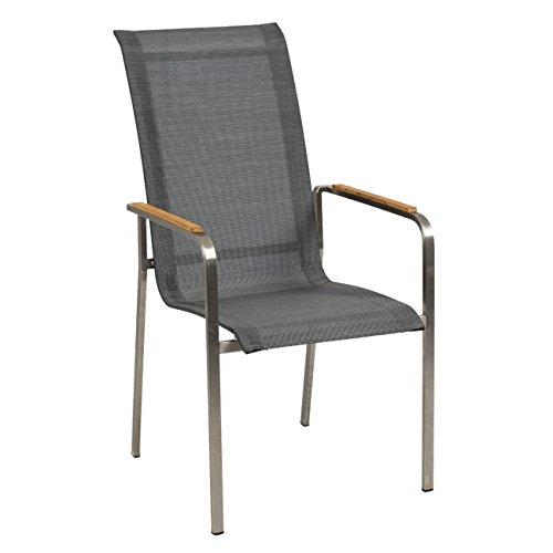 OUTLIV. Gartenstuhl Leon Stapelsessel Edelstahl/Textilene Silber-Schwarz Stuhl Garten