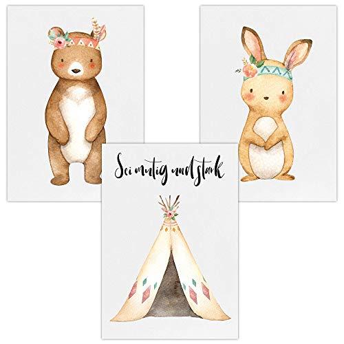 Wandbilder 3er Set für Baby & Kinderzimmer Deko Poster | Kunstdruck DIN A4 ohne Rahmen und Dekoration (Sei mutig und stark'Bär Tipi Hase')