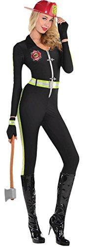 erdbeerloft - Damen Feuerwehr Lady Jumpsuit Karneval Komplett Kostüm , Schwarz, Größe M (Lady Cop Kostüm Amazon)