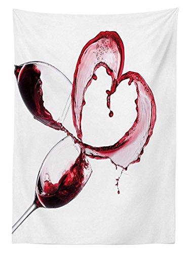 Yeuss vino da esterno in tessuto, cuore rosso vino rovesci in occhiali romantico amore san valentino concetto, decorativo lavabile tovaglia per picnic, borgogna bianco rosa, 132,1x 177,8cm, poliestere, white, 60