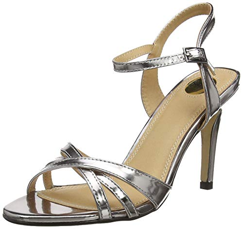 Buffalo Shoes Damen 312703 METALLIC PU Knöchelriemchen, Silber (Pewter 01), 41 EU -