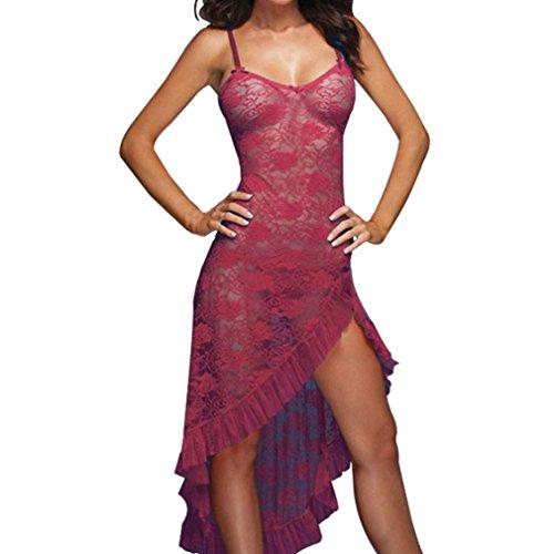 SUCES Damen Negligee Nachtwäsche Nachthemd Spitze Lingerie Nachtkleid Babydoll Reizwäsche Sleepwear Kleid mit String Öffnen Zurück Nachtwäsche Kleid Dessous Unterwäsche für mit Panties (4XL, Red) (Zurück Panty)