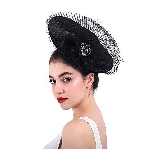 NQN Luxuriöse Sinamay Fascinators für Frauen, Diamond Mesh Kopfschmuck für Frauen, Pillboxhat Kentucky Derby Hüte, Wedding Church Bridal Cocktail Headwear