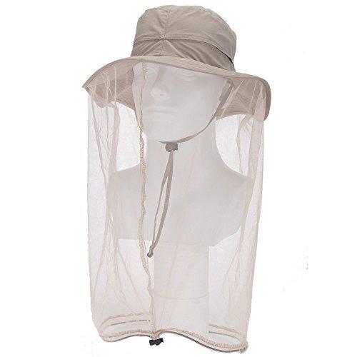 F Flammi Mückenkopf Netz Hut Outdoor LSF 50+ Sonnenhut mit Netzschutz vor Insektenkäfer Biene Gnaten Eimer Boonie Hut Kappe Outdoor Herren Damen, Damen, Khaki -