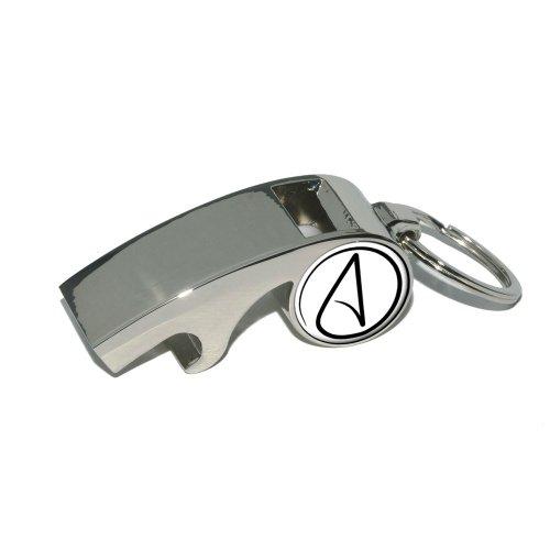 UNIVERSUM Atheist Symbol–vergoldet Metall Whistle Flaschenöffner Schlüsselanhänger Ring