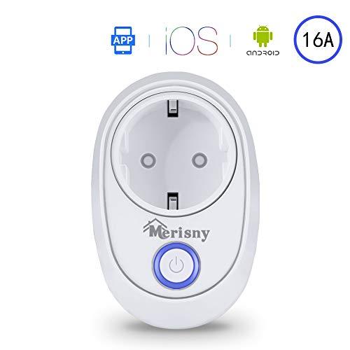 Merisny Presa Intelligente WiFi Smart Plug Funziona con Home Alexa, Google Home e IFTTT, nessun Hub richiesto, Controlla i Tuoi dispositivi da Qualsiasi Luogo, per iOS e Android
