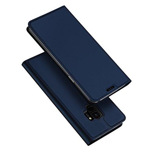 Cover Samsung Galaxy S9,DUX DUCIS [Magnetic Closure] [Supporto Stand] [1 Slot Carte] [Chiusura Magnetica] [Blu] [TPU Bumper] Ultra Slim Full Body Protettiva Flip Case Custodia per Samsung Galaxy S9 (Skin Pro Series)