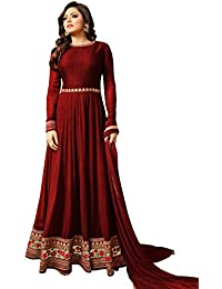 Ank Women Banglori & Georgette Embroidered Long Semi-Stitched Salwar Suit -